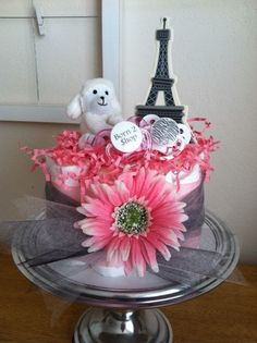 Pink, Black, Gray, White Paris Eiffel Tower Mini Diaper Cake - Baby Girl Shower Gift, Single Tier. $28.00, via Etsy. Baby Shower Parties, Baby Showers, Baby Shower Gifts, Pink Party Decorations, Baby Shower Decorations, Party Party, Party Ideas, Gift Ideas, Pink Dessert Tables