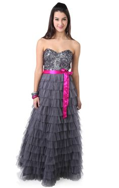 Deb Shops strapless #sequin #prom #dress with satin tie waist    DEBS SHOPS KNOW STYLE FOR 2013!! Thanks for knowing what we want!!!