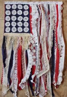 My Sweet Savannah~tutorial, how to make a scrap fabric and lace flag just in time for the 4th of July!