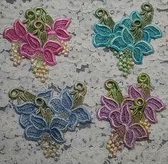 Venise Lace Flower Applique Motifs Hand Dyed Crazy Quilt Embellishment Trio