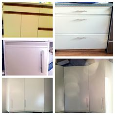 DIY painted cabinets. Painting laminate/melamine kitchen cabinets and new hardware, kitchen re-do under $150.00