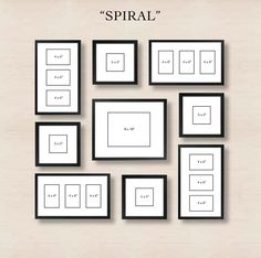 Picture Frames On Wall Layouts. Spiral Gallery Wall Layout Tip Start With Placing The Center Frame And Then Picture Frames On Layouts M Organisation Des Photos, Organization, Photowall Ideas, Gallery Wall Layout, Gallery Walls, Gallery Gallery, Ikea Gallery Wall, Gallery Wall Frame Set, Photo Deco