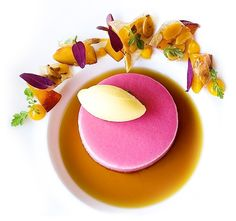 Peach Bavarian, Mango Mint Gelato, and Black Tea Consommé by chef Riccardo Menicucci of restaurant Acquerello from San Francisco, CA