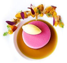 Peach Bavarian, Mango Mint Gelato, and Black Tea Consommé by chef Riccardo Menicucci of restaurant Acquerello from San Francisco, CA