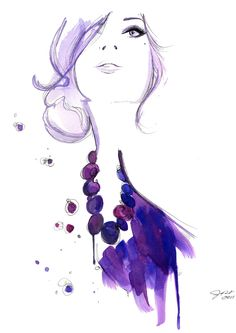 Watercolor Fashion Illustration - Floating Beads print. $25.00, via Etsy.