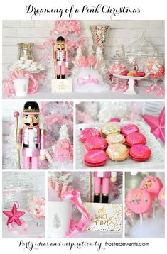 Dreaming of a Pink Christmas party via /frostedevents/ Pink Nutcracker, macaroons, cheescake pops holiday decor, holiday inspiration, party ideas Nutcracker from /target/ Christmas Party Ideas For Teens, Adult Christmas Party, Nutcracker Christmas, Holiday Parties, Merry Christmas, Christmas Holidays, Christmas Gifts, Christmas Desserts, Christmas Tress