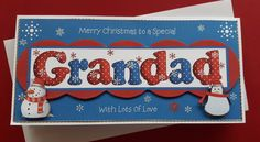 Handmade Christmas card for Grandad with 3D snowman & penguin