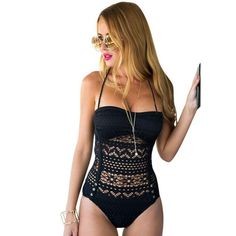 Sexy Halter One Piece Swimsuit Swimwear Bathing Push Up Padded Lace Hollow Out Beachwear 8521