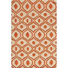 Modern Waves Orange Hand-Tufted Rug (8' x 10')