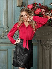 Silky and shiny Real Leather Skirt, Leather Jacket, Leather Skirts, Bow Blouse, Satin Blouses, Hot Pants, Silk Satin, Ruffles, Blazer