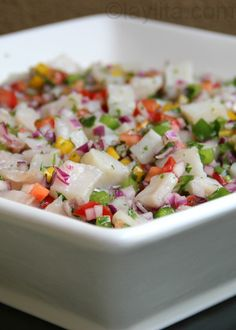 Recipe for Ecuadorian fish ceviche {ceviche de pescado ecuatoriano} made by marinating or cooking raw fish in lime juice and mixing it with onions, tomatoes, peppers, and cilantro. Fish Recipes, Seafood Recipes, Mexican Food Recipes, New Recipes, Cooking Recipes, Favorite Recipes, Healthy Recipes, Ethnic Recipes, Mixed Seafood Ceviche Recipe