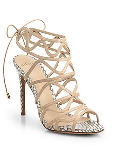 Alexandre Birman - Snakeskin and Leather Strappy Sandals