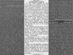 ADVERTISING KANSAS. Pamphlet on Northern Kansas published in London. 29 Jan 1870, Sat 1.