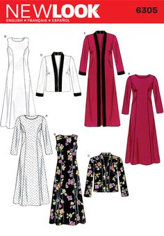 Womens Dress and Long or Short Pattern 6305 New Look Patterns