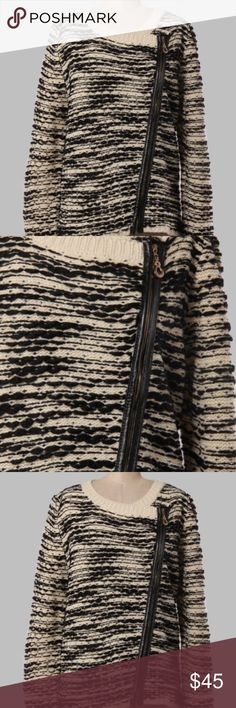 Ladies Black & Cream sweater w/ zipper Cozy sweater with side zipper ONLY 2 IN STOCK Sweaters