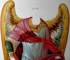 Byzantine Icons, Byzantine Art, Religious Icons, Religious Art, Drawing Lessons, Art Lessons, Paint Icon, Angel Drawing, Russian Icons