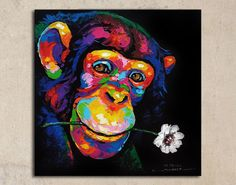 Cute monkey acrylic painting on canvas by SumareeART on Etsy Acrylic Painting Canvas, Diy Canvas Art, Fabric Painting, Acrylic Painting Animals, Painting Abstract, African Art Paintings, Colorful Paintings, Animal Paintings, Cute Monkey