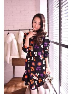 Retro Color Flowers Small Stand Collar Falbala Long Sleeved Shirt Dress Black LG15032831http://www.clothing-dropship.com