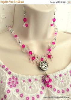 SALE, Heart Necklace, Jewelry set, Heart Jewelry, Gift for her, Pink necklace, Dangle necklace, Gift for her, Women's Jewelry