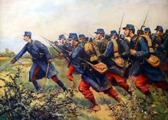 Advance of the French 1st Infantry Regiment at the Battle of the Marne, WWI