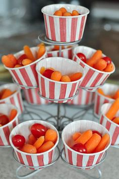 Festive red & white striped cups are great for a circus or holiday theme! For ages 1-5, serve 1/2 cup fresh vegges with milk (1/2 cup) OR whole grain crackers (1/2 ounce) for a complete snack. Make sure to make water available to keep kids hydrated!