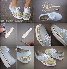 14 DIY Sneakers Ideas-DIY Studded Sneakers