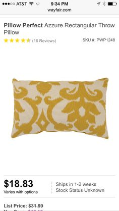 Wayfair.com decorative pillows, gray and yellow