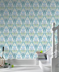 50-138 Amy Butler Passion Lily - ocean color way Blue Floral Wallpaper