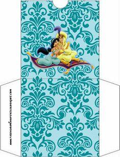 Jasmine e Aladdim - Kit Completo com molduras para convites, rótulos para guloseimas, lembrancinhas e imagens!