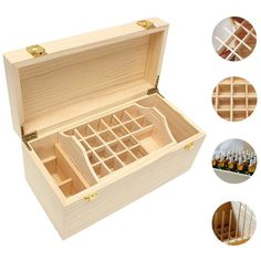 Make sure your essential oils are organized with this Portable Pine Wood 49 Slots Essential Oil Bottles Wooden Box 5ml~100ml 2 Drawer Storage Case Storage Holde