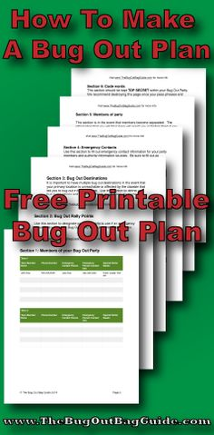 How To Make A Bug Out Plan - Free printable plan to download and fill out.