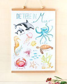 Tiere im Meer - ein tolles Bild für das Kinderzimmer mit Lerneffekt. #kinderzimmer #wandgestaltung #tiere #meer #bild