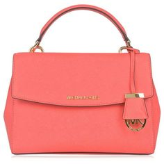 Michael Michael Kors Ava Small Satchel Bag (300 BAM) ❤ liked on Polyvore featuring bags, handbags, coral reef, leather satchel purse, leather handbags, red leather satchel, satchel purses and genuine leather handbags
