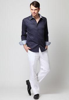 9b670ff4bc9d Long Sleeve Double Collar Blue Linen Shirt - Mksp - Buy Men's Shirts Online  in India