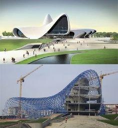 Những đường cong uốn lượn quyến rũ, nổi bật của công trình kiến trúc Trung tâm văn hóa Heydar Aliyev được tạo bởi bê-tông, thép và kính. Công trình mới này đánh dấu mốc quan trọng trong việc quy hoạch lại thủ đô của Azerbaijan, gồm có một đại sảnh với ba thính phòng, thư viện, và một viện bảo tàng quốc gia.