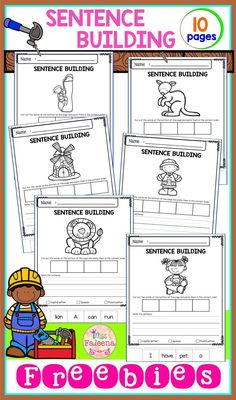 There are 10 pages of sentence building worksheets in this product. These pages are great for pre-K, kindergarten and first gr 1st Grade Writing, First Grade Reading, Teaching Writing, Writing Skills, Writing Process, Writing Workshop, Writing Ideas, Teaching Kids, Kindergarten Worksheets