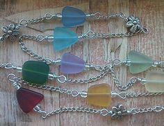 "Colorful Sea Glass Necklace Bright 30"" Long Flower Summer Beach Fashion RAINBOW #Handmade #Pendant"