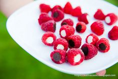 Rasberries with Chocolate Chips. Neat idea...and yummy too! :)