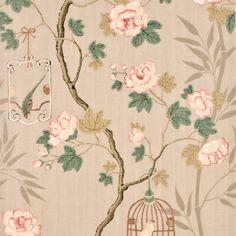 G P & J Baker SONGBIRD SILVER/ROSE Wallpaper. Love