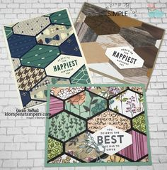 Video using Tailored Tag Punch. By Jackie Bolhuis, Klompenstampers Masculine Birthday Cards, Masculine Cards, Hexagon Cards, Stampin Up Anleitung, Stamping Up Cards, Cool Cards, Easy Cards, Card Tutorials, Card Sketches