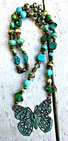 Butterfly Verdigris patina green butterfly pendant, Czech glass necklace, jewelry, http://www.mckeejewelrydesigns.com/ 	 Andria McKee, McKee Jewelry,  McKee Jewelry Designs,   Hand made jewelry, jewellery