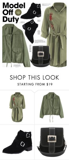 """""""It-Girl: Model Off Duty"""" by katjuncica ❤ liked on Polyvore featuring shirtdress, ankleboots, olivegreen and modeloffduty"""