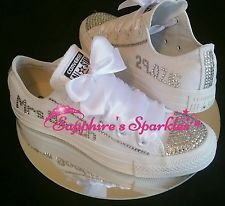 Personalised Bridal Bling Crystal Mono All White Converse 3 4 5 6 7 8 9