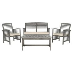 Bring classic style to your patio or poolside with this timeless acacia wood seating group, featuring a slatted coffee table, complementing bench, and 2 arm ...