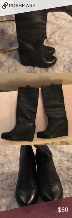 D- Segno Wedge Boots D-Segno Becky boots in black leather. Inside boot is brown leather contrast. These look new and have no scuffs or visible wear. The leather is what sold me on these. Got these at Nordstrom Rack for $120 and was sold because of the quality of the boots. I don't wear them at all and they've just been sitting in the box. Shoes Heeled Boots