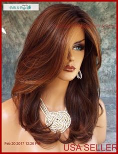 50 ideas for hair color short auburn wigs Long Thin Hair, Long Layered Hair, Long Hair Cuts, Short Hair Wigs, Short Hair Styles, Rides Front, Synthetic Wigs, Hair Dos, Hair Lengths
