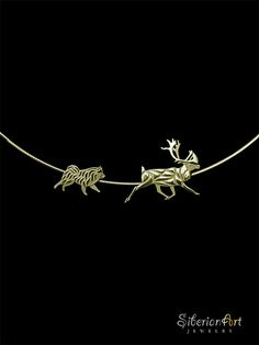 Working Finnish Lapphund and Reindeer necklace - gold
