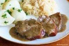 An authentic recipe for German Senfbraten, mustard pork roast, made the traditional way.