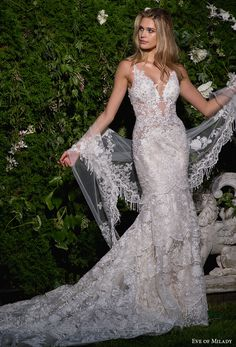 eve of milady spring 2017 bridal sleeveless deep v neck full embellishment elegant fit and flare wedding dress open scoop back chapel train (1584) mv -- Eve of Milady Spring 2017 Wedding Dresses #wedding #bridal #lace