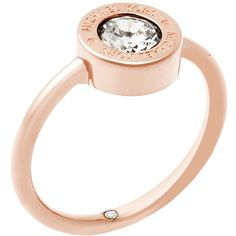 Michael Kors Logo Ring , Rose Gold ($100) ❤ liked on Polyvore featuring jewelry, rings, rose gold, red gold ring, michael kors, oversized jewelry, sparkle jewelry and rose gold jewellery